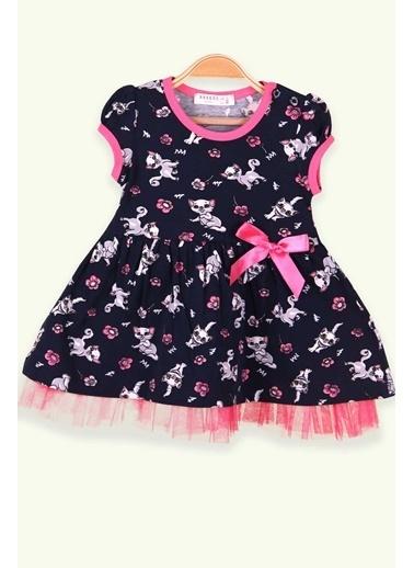 Breeze Kız Çocuk Elbise Fiyonklu Kedili Lacivert (1-3 Yaş) Lacivert